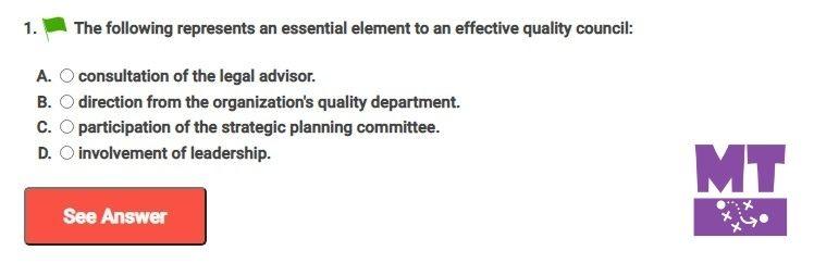 Effective Quality Council Question